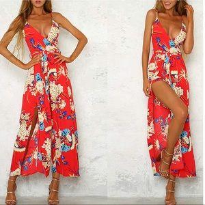 Dresses & Skirts - Red Boho Floral Wide Slit Leg Wrap Romper,L-XL